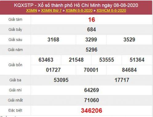 Soi cầu KQXS Hồ Chí Minh 10/8/2020 thứ 2 siêu chuẩn xác